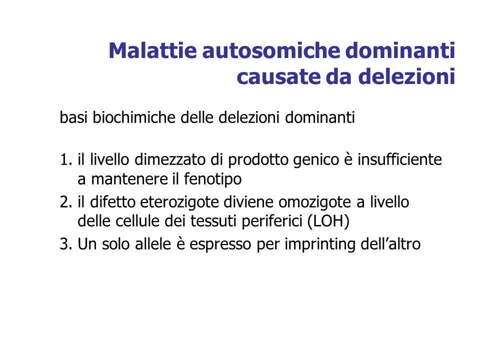 Malattie autosomiche dominanti causate da delezioni basi biochimiche delle delezioni dominanti 1.il livello dimezzato di prodotto genico è insufficiente a mantenere il fenotipo 2.il difetto eterozigote diviene omozigote a livello delle cellule dei tessuti periferici (LOH) 3.Un solo allele è espresso per imprinting dellaltro
