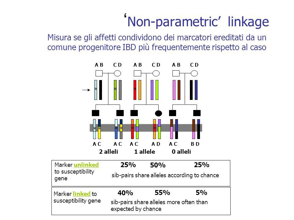 Non-parametric linkage Misura se gli affetti condividono dei marcatori ereditati da un comune progenitore IBD più frequentemente rispetto al caso Marker unlinked to susceptibility gene sib-pairs share alleles according to chance sib-pairs share alleles more often than expected by chance 25% 50% 25% 40% 55%5% Marker linked to susceptibility gene A BC DA BC DA BC D 2 alleli1 allele0 alleli A C A DA CB D *** * * * * * *