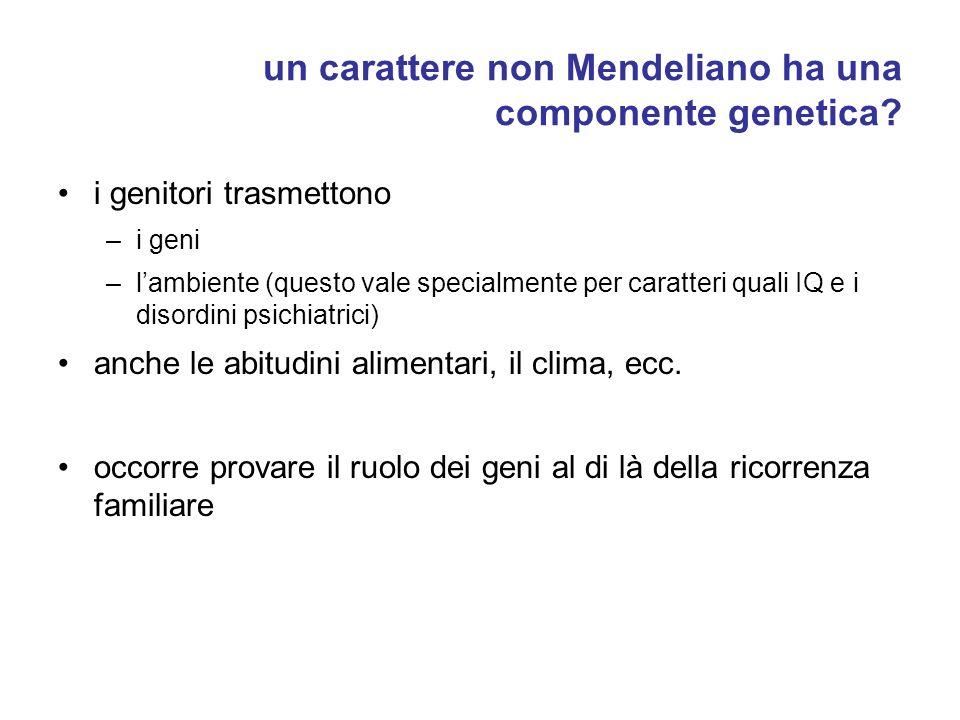 un carattere non Mendeliano ha una componente genetica.