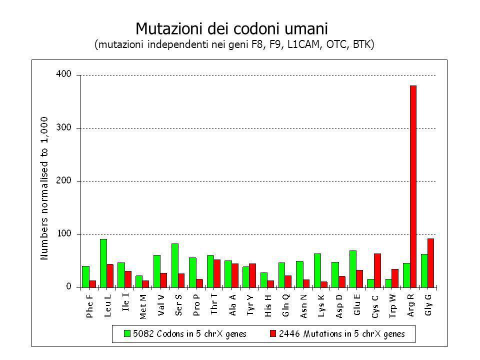 Mutazioni dei codoni umani (mutazioni independenti nei geni F8, F9, L1CAM, OTC, BTK)