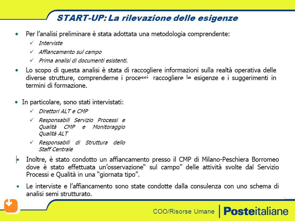 COO/Risorse Umane Destinatari Responsabili di staff 4 strutture centrali + collaboratori n.
