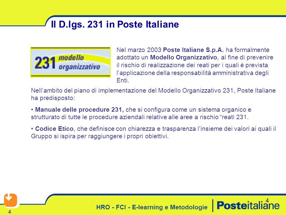HRO - FCI - E-learning e Metodologie 4 4 Il D.lgs. 231 in Poste Italiane Nellambito del piano di implementazione del Modello Organizzativo 231, Poste