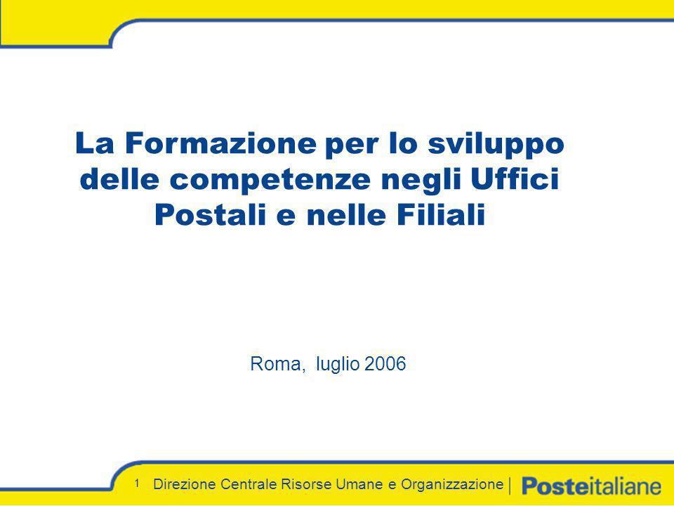 Direzione Centrale Risorse Umane e Organizzazione 1 Roma, luglio 2006 La Formazione per lo sviluppo delle competenze negli Uffici Postali e nelle Fili