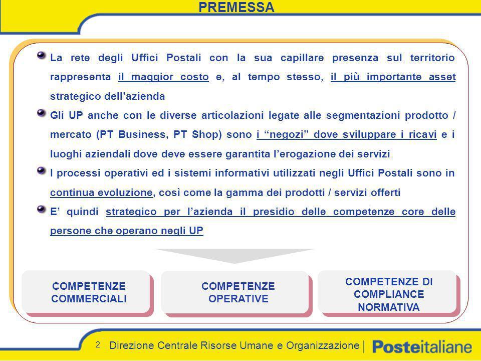Direzione Centrale Risorse Umane e Organizzazione 2 PREMESSA La rete degli Uffici Postali con la sua capillare presenza sul territorio rappresenta il
