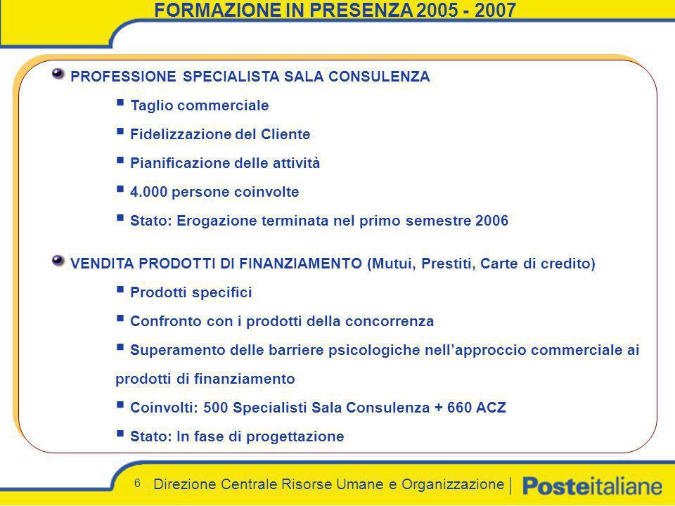 Direzione Centrale Risorse Umane e Organizzazione 6 FORMAZIONE IN PRESENZA 2005 - 2007 PROFESSIONE SPECIALISTA SALA CONSULENZA Taglio commerciale Fide