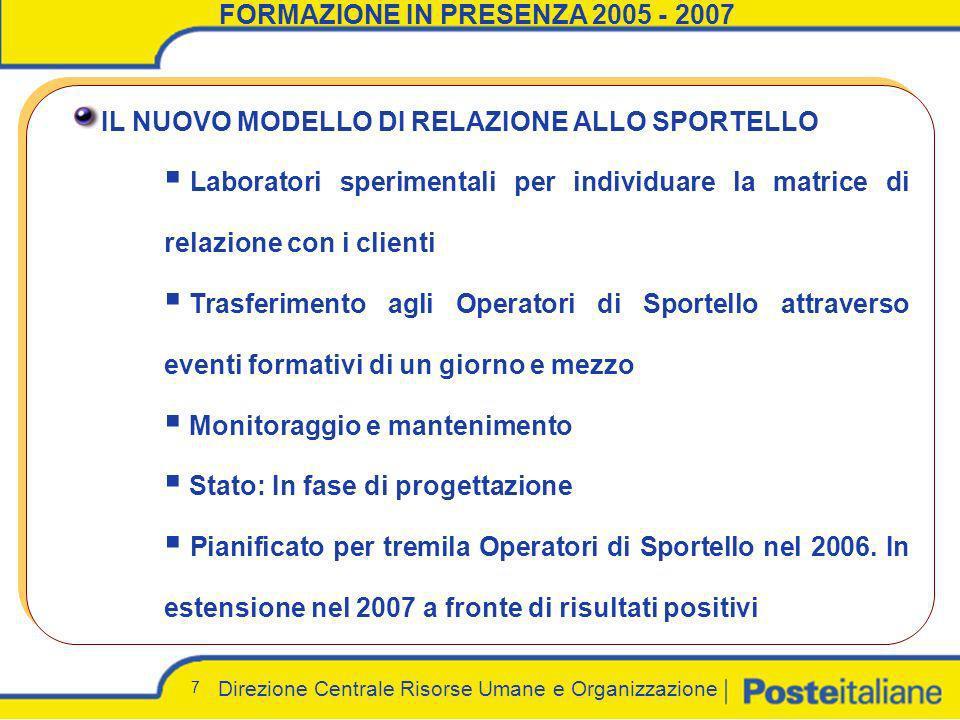 Direzione Centrale Risorse Umane e Organizzazione 7 FORMAZIONE IN PRESENZA 2005 - 2007 IL NUOVO MODELLO DI RELAZIONE ALLO SPORTELLO Laboratori sperime