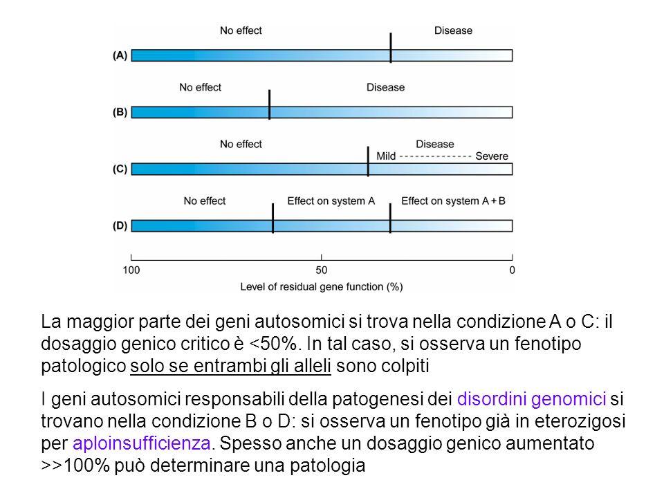 La maggior parte dei geni autosomici si trova nella condizione A o C: il dosaggio genico critico è <50%. In tal caso, si osserva un fenotipo patologic