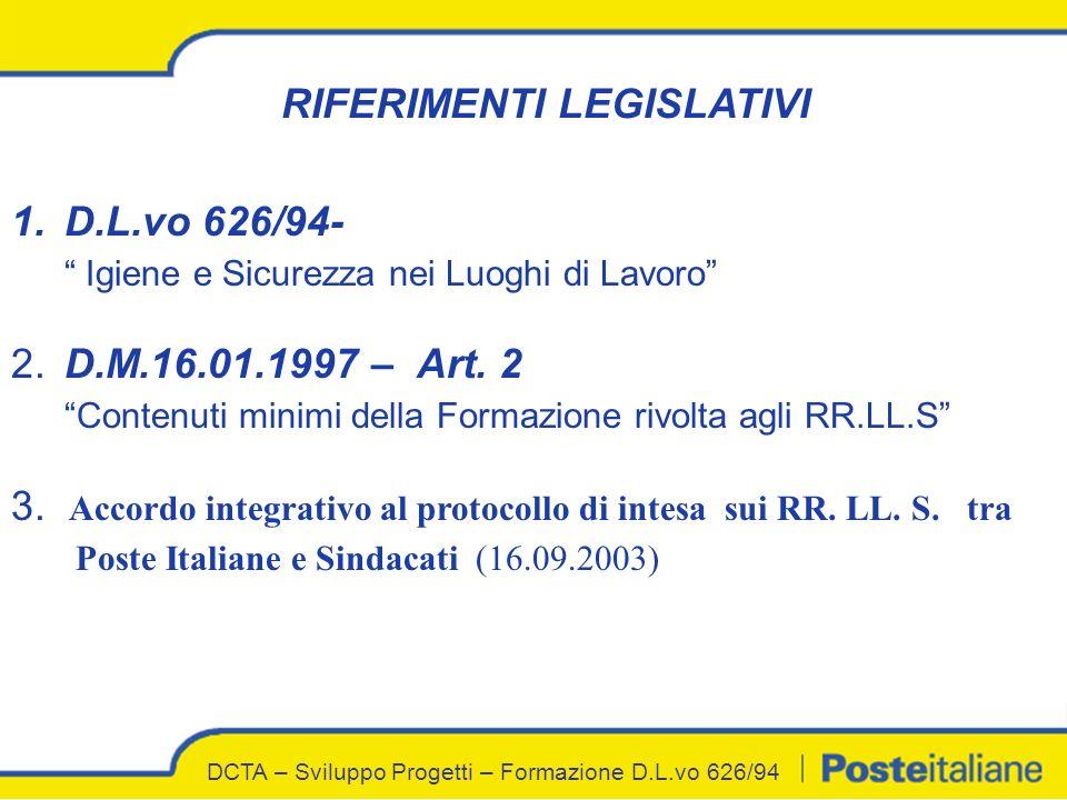 RIFERIMENTI LEGISLATIVI 1.D.L.vo 626/94- Igiene e Sicurezza nei Luoghi di Lavoro 2.D.M.16.01.1997 – Art.