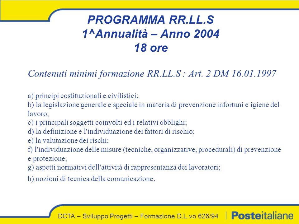 PROGRAMMA RR.LL.S 1^Annualità – Anno 2004 18 ore Contenuti minimi formazione RR.LL.S : Art.