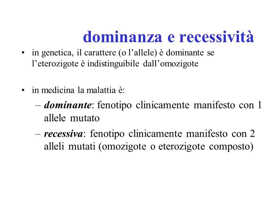 dominanza e recessività in genetica, il carattere (o lallele) è dominante se leterozigote è indistinguibile dallomozigote in medicina la malattia è: –