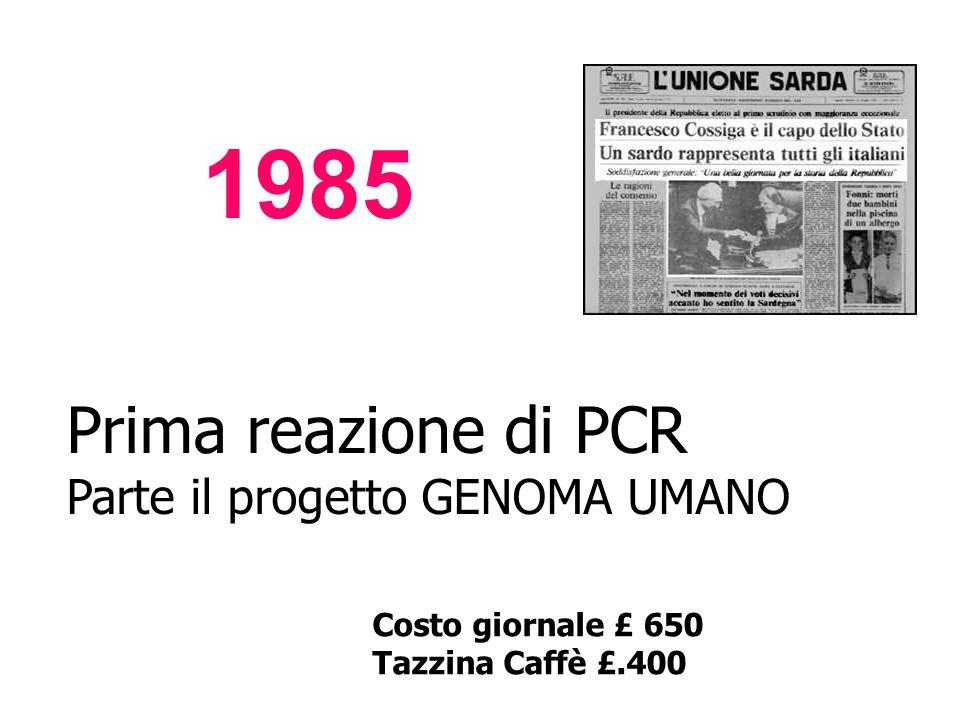 Prima reazione di PCR Parte il progetto GENOMA UMANO Costo giornale £ 650 Tazzina Caffè £.400 1985