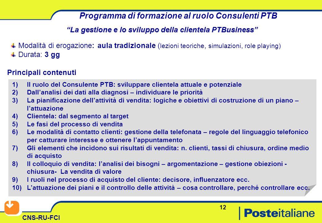 12 CNS-RU-FCI Programma di formazione al ruolo Consulenti PTB La gestione e lo sviluppo della clientela PTBusiness Modalità di erogazione: aula tradiz