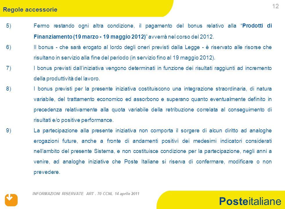 Posteitaliane INFORMAZIONI RISERVATE ART.