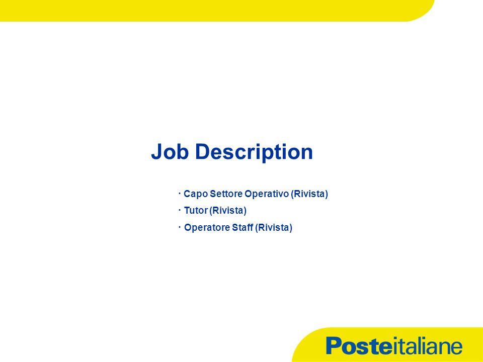 Job Description · Capo Settore Operativo (Rivista) · Tutor (Rivista) · Operatore Staff (Rivista)