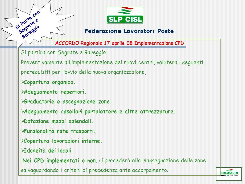Federazione Lavoratori Poste ACCORDO Regionale 17 aprile 08 Implementazione CPD Si partirà con Segrate e Bareggio Preventivamente allimplementazione d