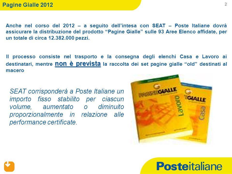 Anche nel corso del 2012 – a seguito dellintesa con SEAT – Poste Italiane dovrà assicurare la distribuzione del prodotto Pagine Gialle sulle 93 Aree E