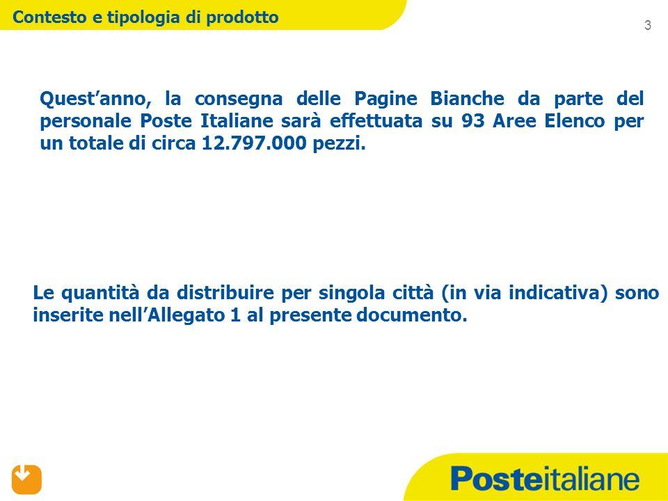 Contesto e tipologia di prodotto Questanno, la consegna delle Pagine Bianche da parte del personale Poste Italiane sarà effettuata su 93 Aree Elenco per un totale di circa 12.797.000 pezzi.