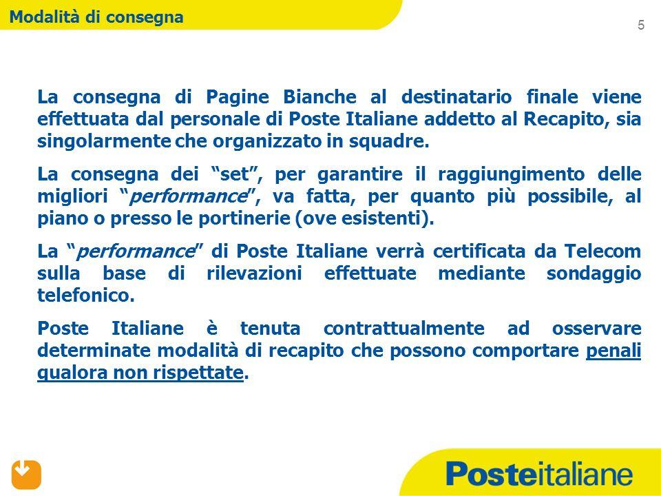 Modalità di consegna La consegna di Pagine Bianche al destinatario finale viene effettuata dal personale di Poste Italiane addetto al Recapito, sia singolarmente che organizzato in squadre.
