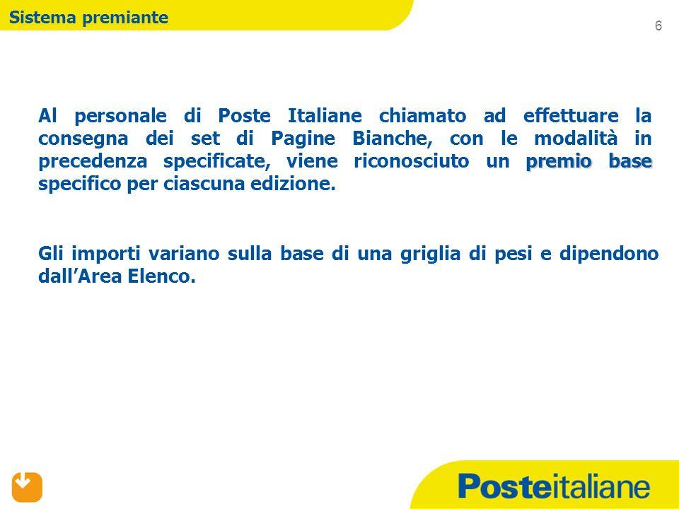 premio base Al personale di Poste Italiane chiamato ad effettuare la consegna dei set di Pagine Bianche, con le modalità in precedenza specificate, viene riconosciuto un premio base specifico per ciascuna edizione.