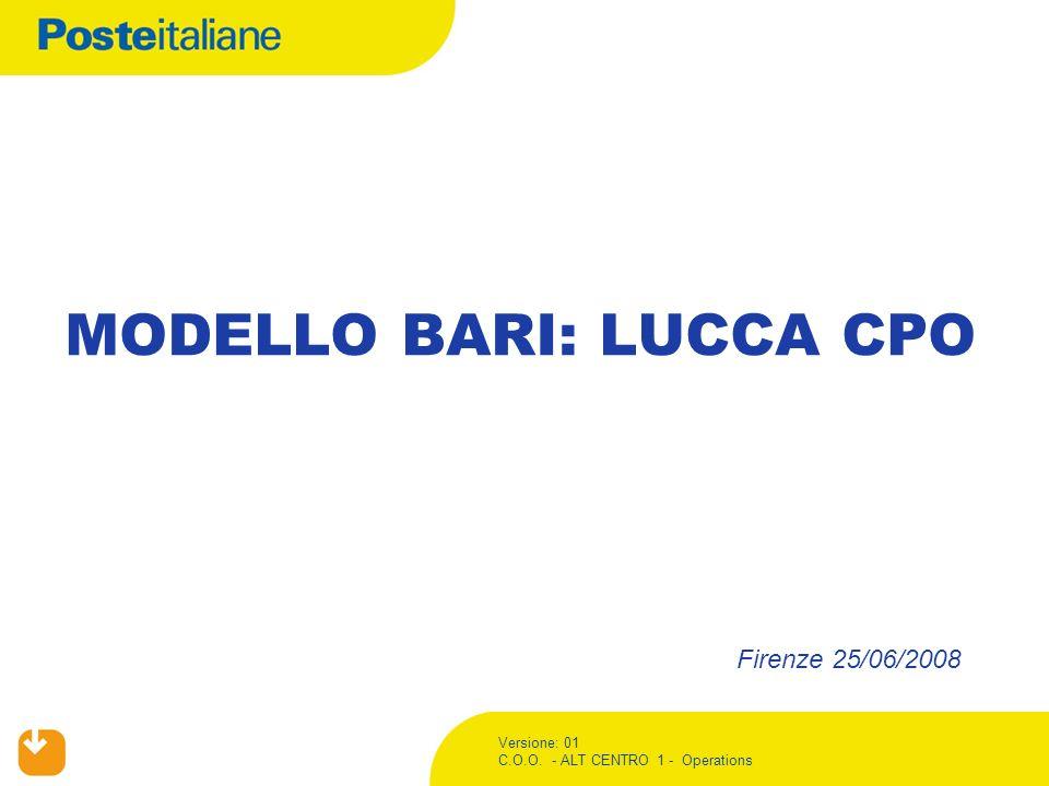 Versione: 01 C.O.O. - ALT CENTRO 1 - Operations MODELLO BARI: LUCCA CPO Firenze 25/06/2008