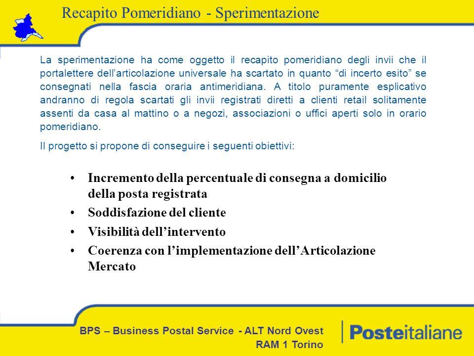 BPS – Business Postal Service - ALT Nord Ovest RAM 1 Torino Recapito Pomeridiano - Sperimentazione 1.La sperimentazione coinvolge il CPD Torino Reiss con il solo CAP 10155 2.Il CAP 10155 è composto da 14 zone Universali 3.Le 14 zone Universali attuali verranno raggruppate in 3 Macrozone secondo le principali direttrici di traffico/recapito 4.La media giornaliera degli oggetti Inesitati nelle 14 zone del CAP 10155 è di 160-180 pezzi 5.Ogni Macrozona consegnerà, in media, 50-60 oggetti a firma 6.Le operazioni di recapito verranno effettuate con lausilio del Palmare 7.Orario -Previsto su cinque giorni (7,12 ore giornaliere, escluso sabato) per due Macrozone – orario di lavoro dalle 12,48 alle 20,00 -Previsto su sei giorni (6 ore giornaliere) per una Macrozona – orario di lavoro dal lunedì al venerdì dalle 13,30 alle 19,30 – il sabato dalle 10,30 alle 16,30 Studio, progettazione e organizzazione