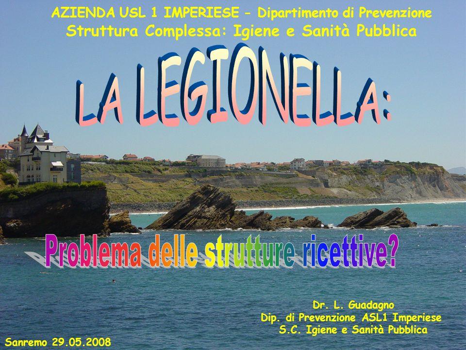 Dr. L. Guadagno Dip. di Prevenzione ASL1 Imperiese S.C. Igiene e Sanità Pubblica Sanremo 29.05.2008 AZIENDA USL 1 IMPERIESE - Dipartimento di Prevenzi