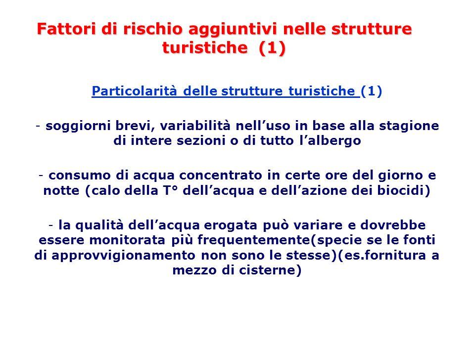 Fattori di rischio aggiuntivi nelle strutture turistiche (1) Particolarità delle strutture turistiche (1) - soggiorni brevi, variabilità nelluso in ba