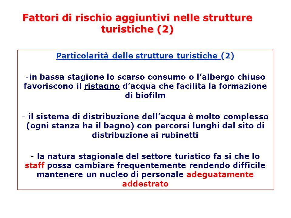 Fattori di rischio aggiuntivi nelle strutture turistiche (2) Particolarità delle strutture turistiche (2) -in bassa stagione lo scarso consumo o lalbe