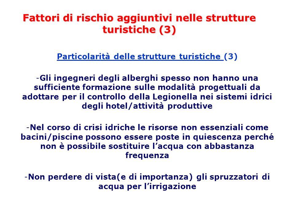 Fattori di rischio aggiuntivi nelle strutture turistiche (3) Particolarità delle strutture turistiche (3) -Gli ingegneri degli alberghi spesso non han