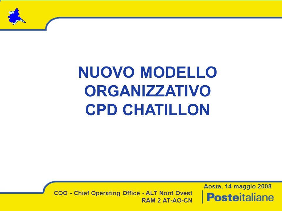 NUOVO MODELLO ORGANIZZATIVO CPD CHATILLON Aosta, 14 maggio 2008 COO - Chief Operating Office - ALT Nord Ovest RAM 2 AT-AO-CN