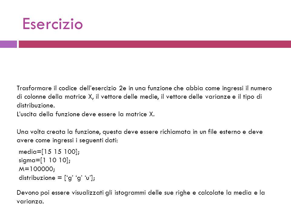 Definizione della funzione function [X] = generazione (M, media, sigma, distribuzione) Vogliamo creare una funzione che abbia come ingressi: il numero di osservazioni; il vettore delle medie il vettore delle deviazioni standard il tipo di distribuzione E che abbia come unica uscita la matrice X.