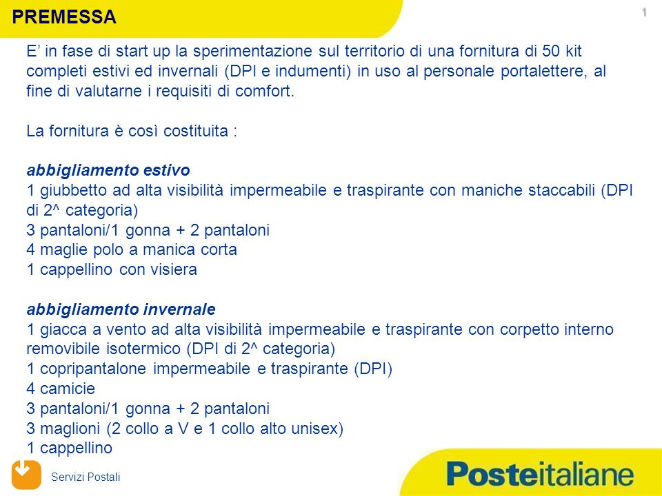 09/02/2014 Servizi Postali Sperimentazione Indumenti e DPI