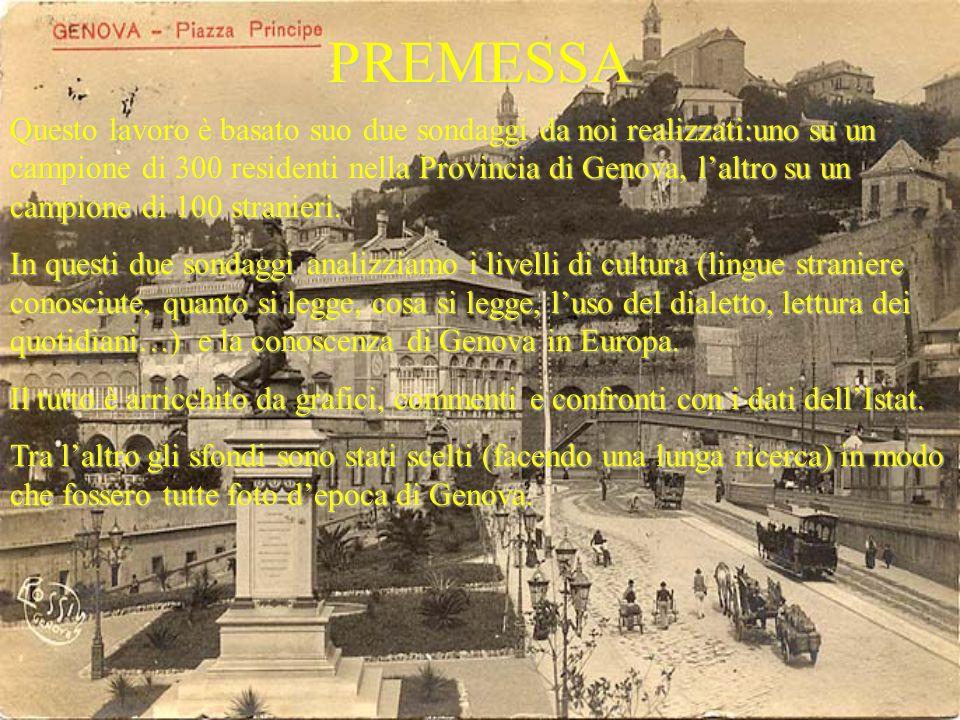 PREMESSA Questo lavoro è basato suo due sondaggi da noi realizzati:uno su un campione di 300 residenti nella Provincia di Genova, laltro su un campione di 100 stranieri.