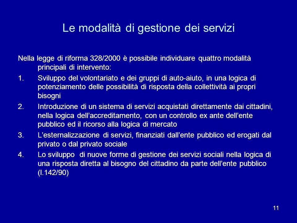11 Le modalità di gestione dei servizi Nella legge di riforma 328/2000 è possibile individuare quattro modalità principali di intervento: 1.Sviluppo d