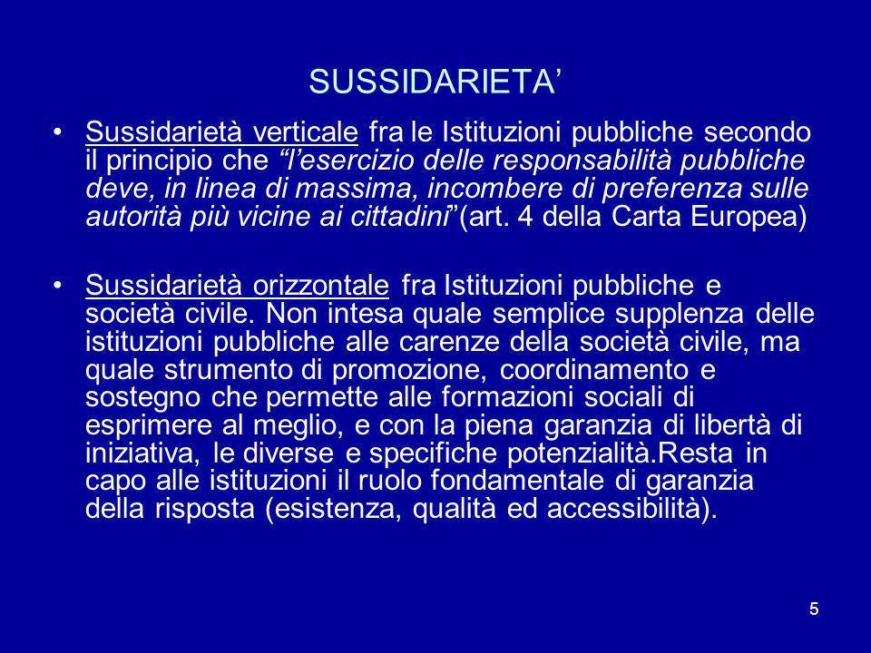 5 SUSSIDARIETA Sussidarietà verticale fra le Istituzioni pubbliche secondo il principio che lesercizio delle responsabilità pubbliche deve, in linea d