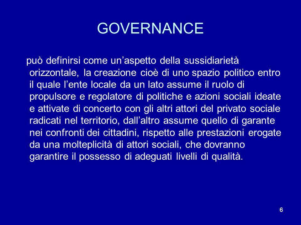 6 GOVERNANCE può definirsi come unaspetto della sussidiarietà orizzontale, la creazione cioè di uno spazio politico entro il quale lente locale da un