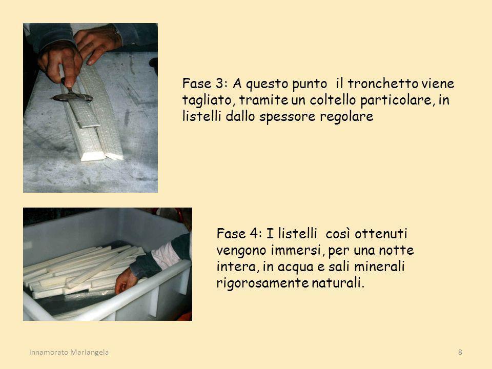 Innamorato Mariangela8 Fase 3: A questo punto il tronchetto viene tagliato, tramite un coltello particolare, in listelli dallo spessore regolare Fase
