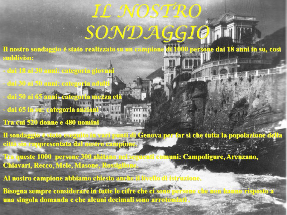 PREMESSA Questo lavoro è basato su un sondaggio molto accurato da noi realizzato su un campione di 1000 residenti nella Provincia di Genova.