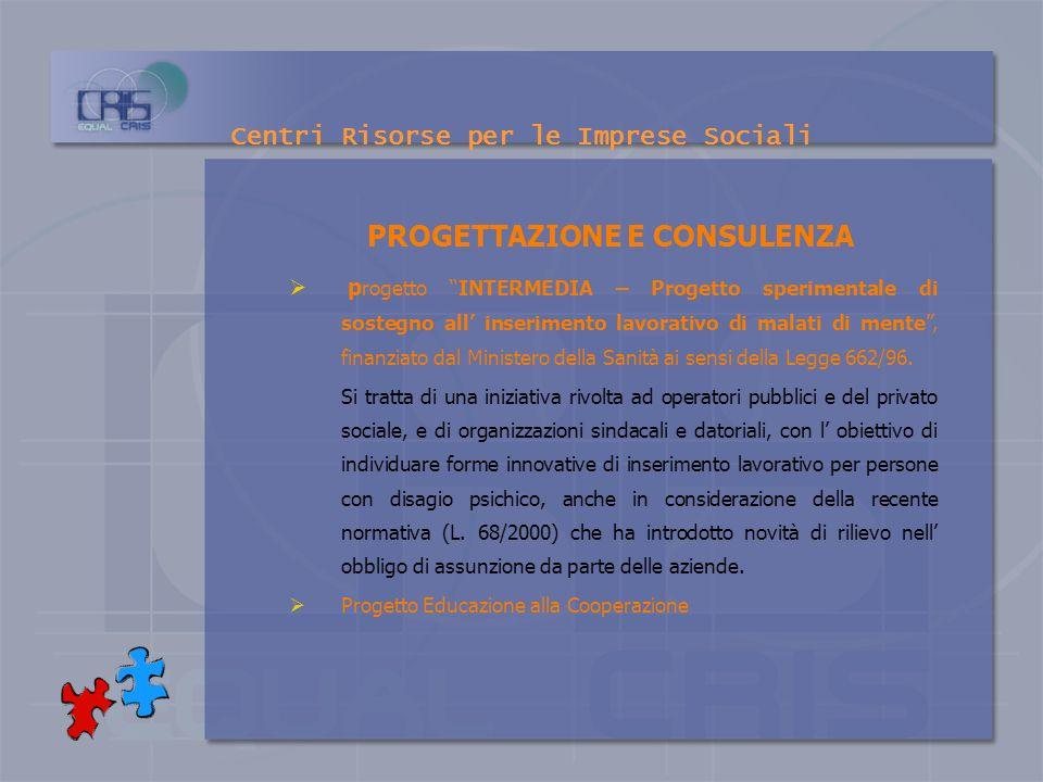 Centri Risorse per le Imprese Sociali PROGETTAZIONE E CONSULENZA Patto Territoriale del Matese Sviluppo locale – Patti territoriali per loccupazione s