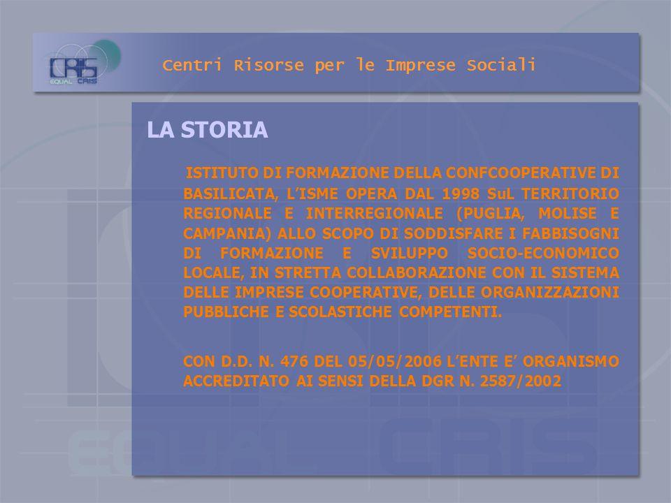 Centri Risorse per le Imprese Sociali Istituto di Formazione e Ricerca per lo sviluppo dell imprenditoria sociale nel Mezzogiorno ISME