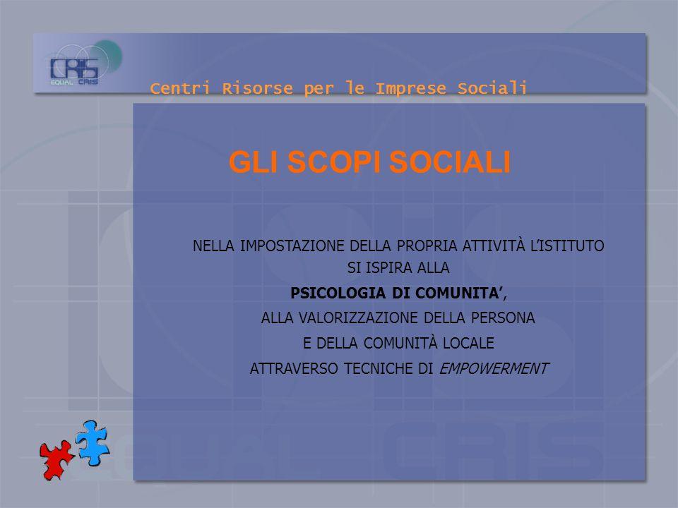 Centri Risorse per le Imprese Sociali OBIETTIVO STRATEGICO DISPORRE DI UN SOGGETTO AUTONOMO E ORIGINALE PER LA REALIZZAZIONE DI ATTIVITÀ FORMATIVE E D