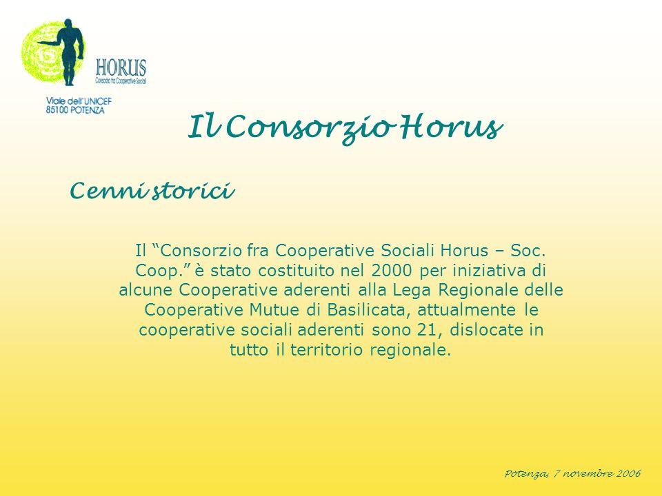 Potenza, 7 novembre 2006 Il Consorzio Horus Cenni storici Il Consorzio fra Cooperative Sociali Horus – Soc. Coop. è stato costituito nel 2000 per iniz