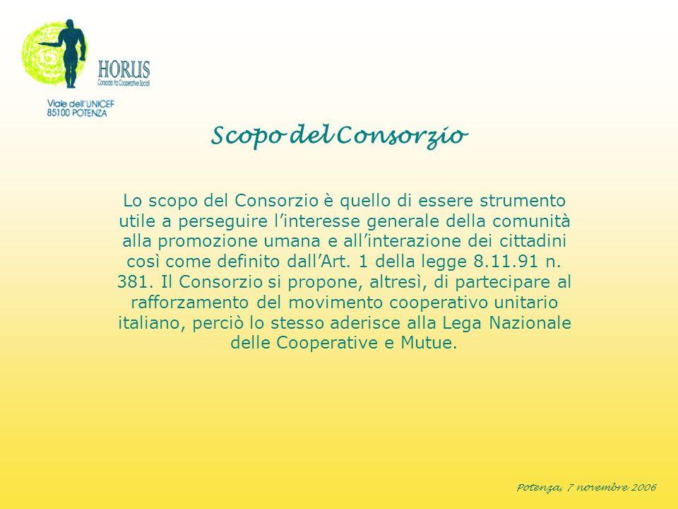 Potenza, 7 novembre 2006 Scopo del Consorzio Lo scopo del Consorzio è quello di essere strumento utile a perseguire linteresse generale della comunità