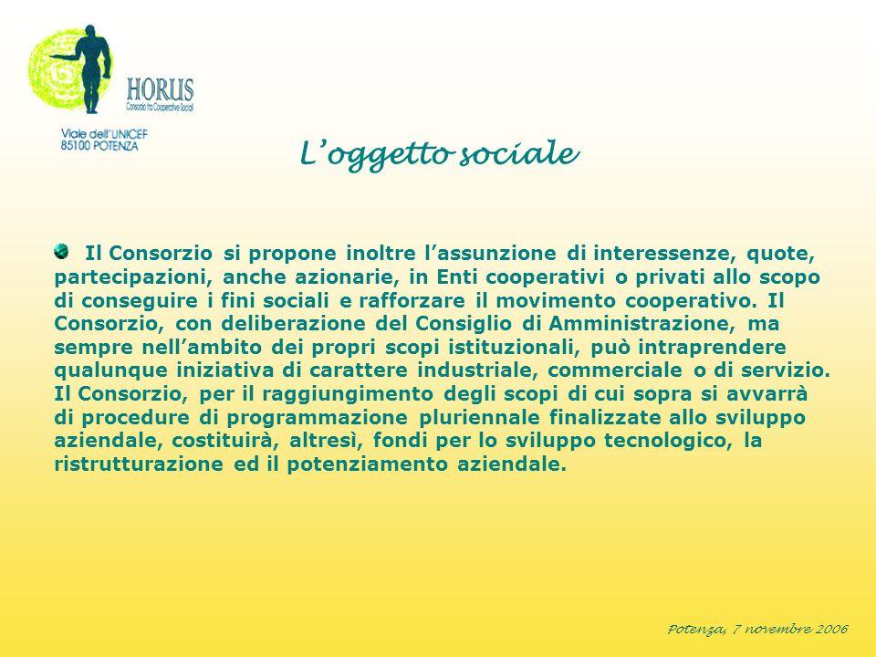 Potenza, 7 novembre 2006 Loggetto sociale Il Consorzio si propone inoltre lassunzione di interessenze, quote, partecipazioni, anche azionarie, in Enti