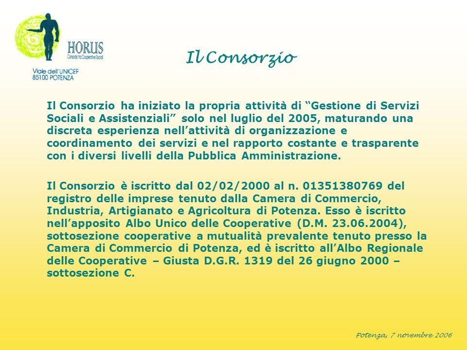 Potenza, 7 novembre 2006 Il Consorzio Il Consorzio ha iniziato la propria attività di Gestione di Servizi Sociali e Assistenziali solo nel luglio del