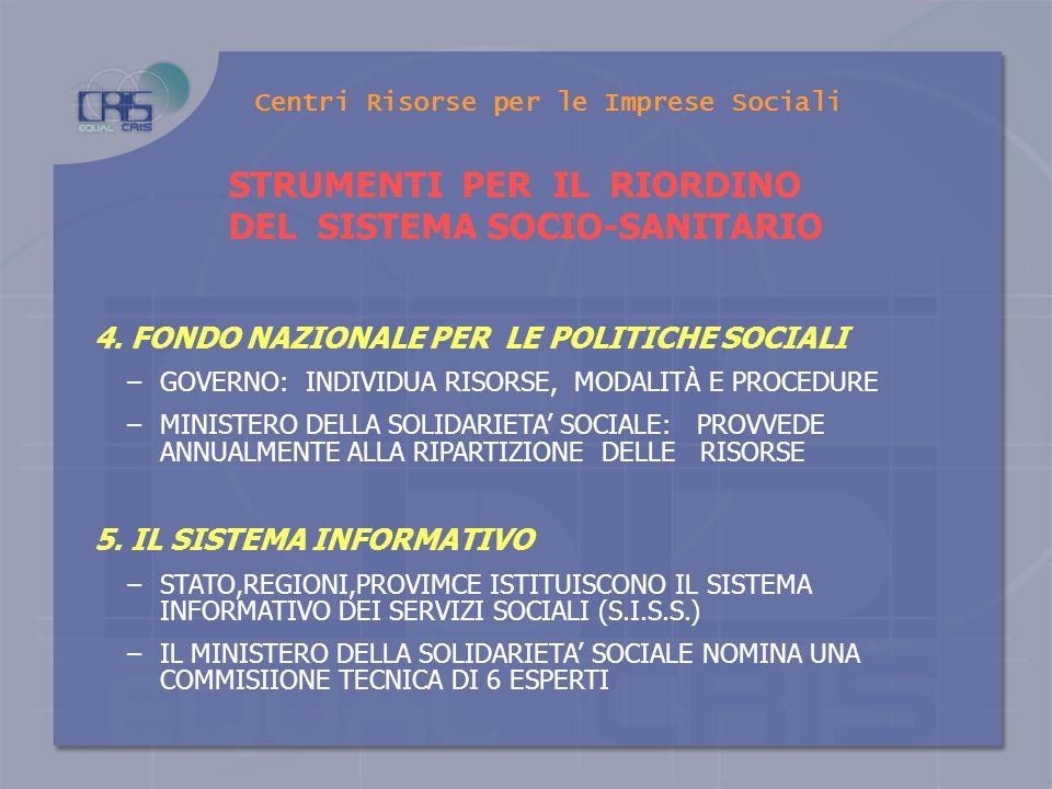 Centri Risorse per le Imprese Sociali STRUMENTI PER IL RIORDINO DEL SISTEMA SOCIO-SANITARIO 1. - IL PIANO NAZIONALE GOVERNO, SU PROPOSTA MINISTERO DEL