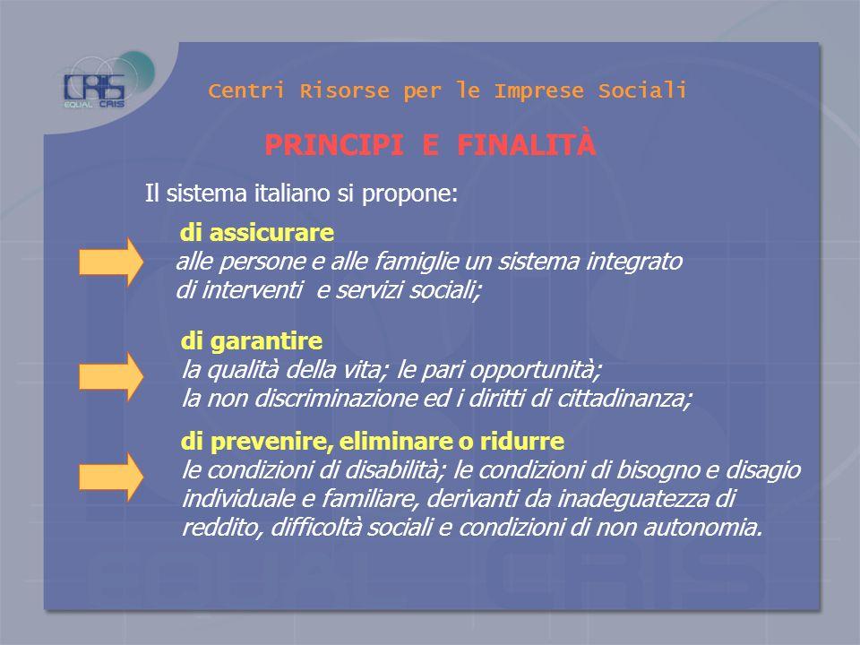 Centri Risorse per le Imprese Sociali FUNZIONAMENTO DEI SERVIZI SOCIALI IN ITALIA La legge 328/2000 Come è organizzato il sistema dei servizi sociali, ruolo delle istituzioni e delleconomia sociale