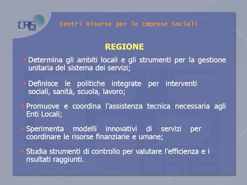 S T A T O Determina i requisiti e i profili professionali di chi opera nel campo del sociale Centri Risorse per le Imprese Sociali Esercita i poteri s