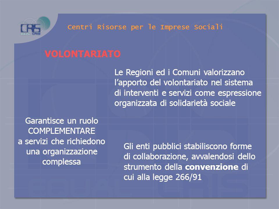 Centri Risorse per le Imprese Sociali le Organizzazioni di volontariato le Associazioni e gli Enti di promozione sociale, gli Organismi della cooperaz