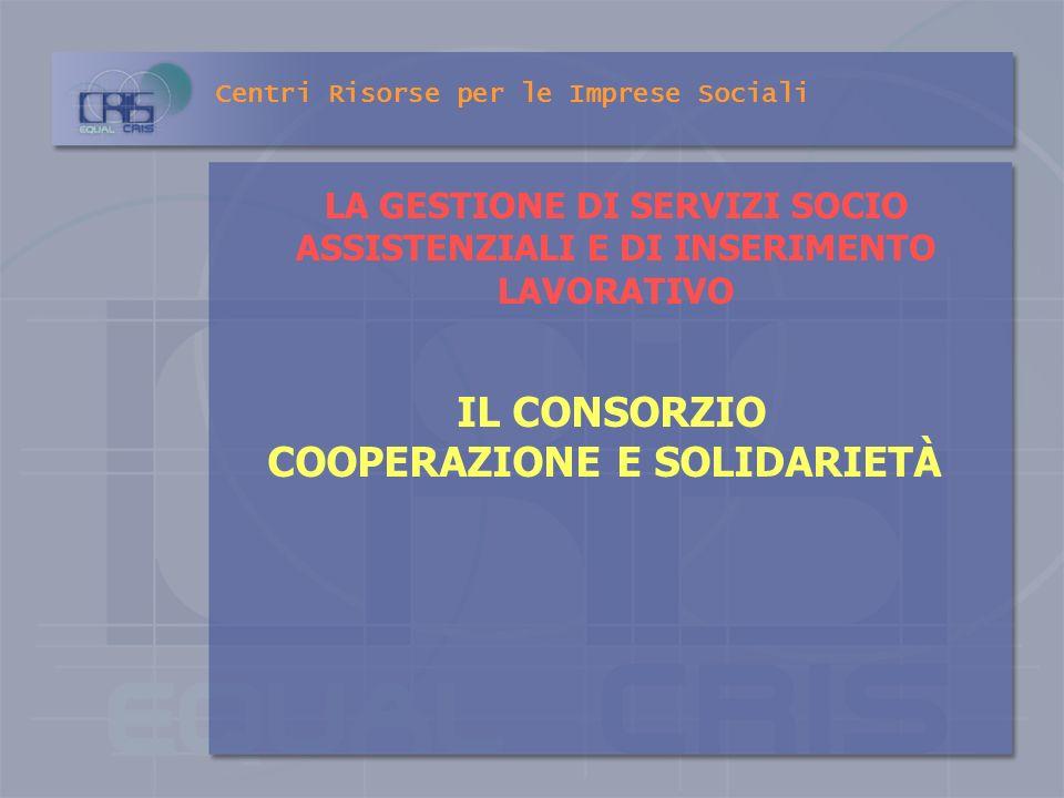 Centri Risorse per le Imprese Sociali AFFIDAMENTO DELLA GESTIONE DEI SERVIZI Le Regioni adottano specifici indirizzi al fine di regolamentare i rappor